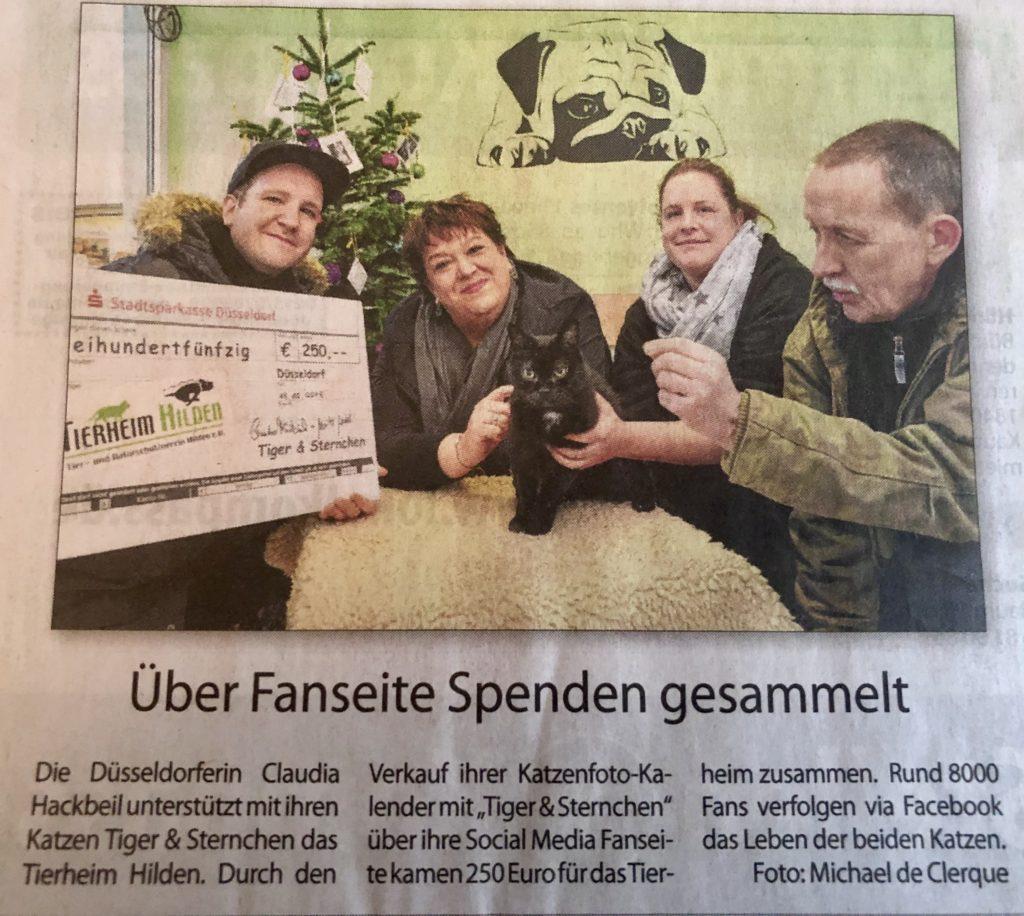 Wochenanzeiger Hilden Spende Tiger & Sternchen Kalender