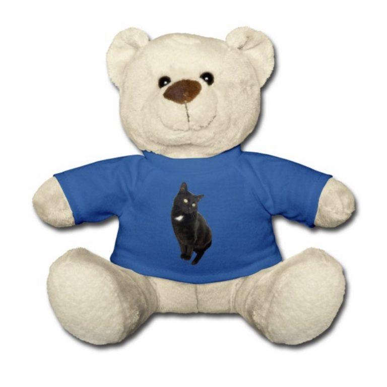 Tiger frontal auf blauen T-Shirt mit Teddybär