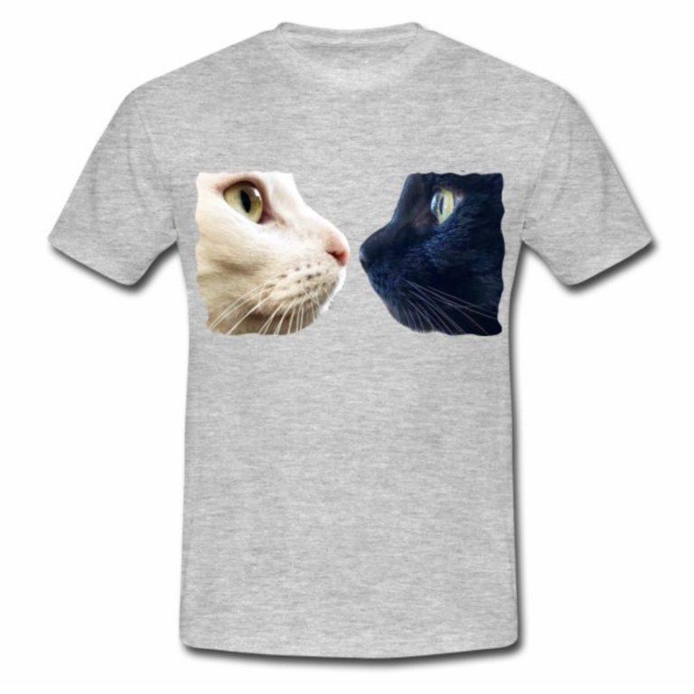 Sternchen und Tiger gegenüber auf grauen T-Shirt