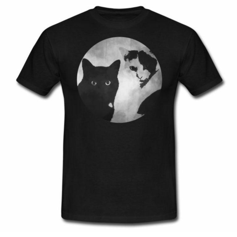 Tiger und Sternchen Logo auf schwarzen Männer T-Shirt